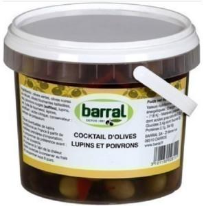 Cocktail d'Olives Entières Poivrons et Lupins Barral