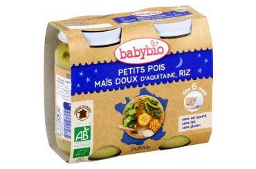 Petits Pois Mais d'Aquitaine et Riz Bio Dès 6 Mois Babybio