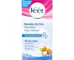 Bandes de Cire Peaux Sensibles Easy Strip Veet