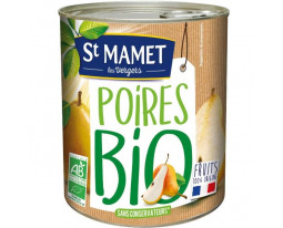 Poires William Demi Fruit au Sirop Bio Saint Mamet