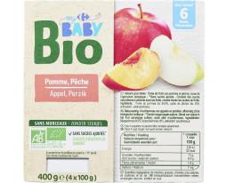 Compote Pomme et Pêche Bio Dès 6 Mois Carrefour Baby
