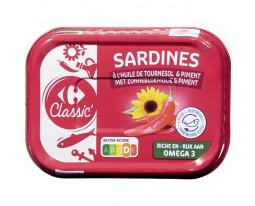 Sardines à l'Huile de Tournesol et Piment Carrefour
