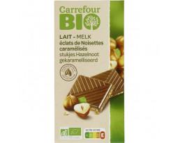 Chocolat Lait aux Eclats de Noisettes Caramélisées Bio Carrefour
