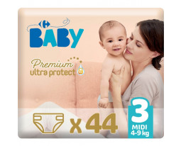 Couches Taille 3 Midi 4-9kgs Premium Ultra Protect Carrefour Baby